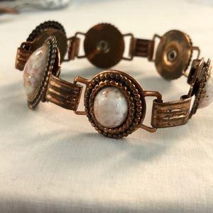 Vintage copper and confetti link bracelet.